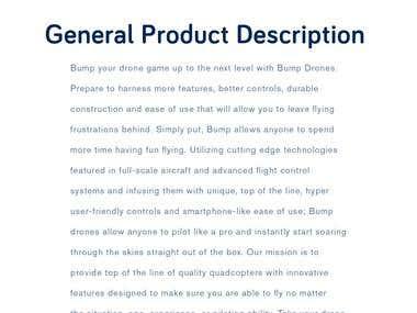 Bump Drones Product Descriptions Copywritting