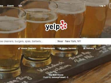 Yelp.com scraping data collection