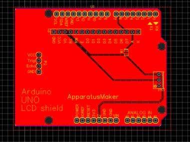 Arduino UNO LCD + ultrasonic shield
