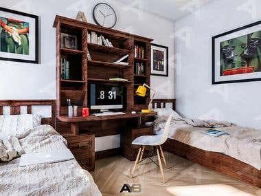 Bedroom Interior & Furniture Design.