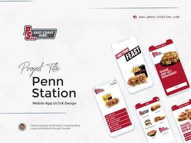 """""""Penn Station Subs"""" Mobile App UI/UX Design"""