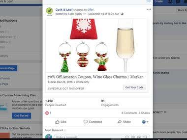 Facebook to Amazon Automated Coupon Code.