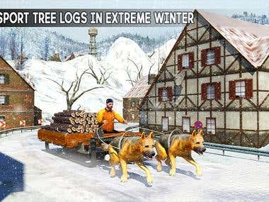 Snow Dog Sledding Transport: Dog Simulator Games