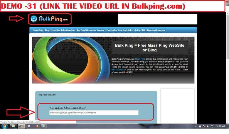 DEMO 31 (LINK THE VIDEO URL IN Bulkping com)  | Freelancer