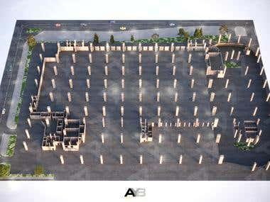 Parking Area 3D Floor Plan.