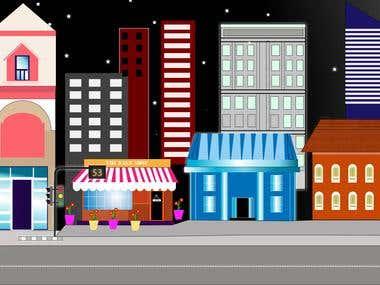2D Vector Illustration of city landscape