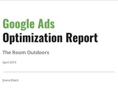Google Ads Optimization Report: The Room Outdoors