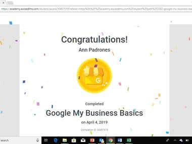 Google MyBusiness Basic Certificate of Completion
