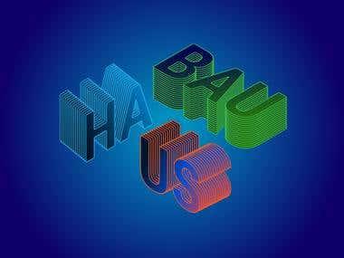 Bahaus isometric logo for tshirt
