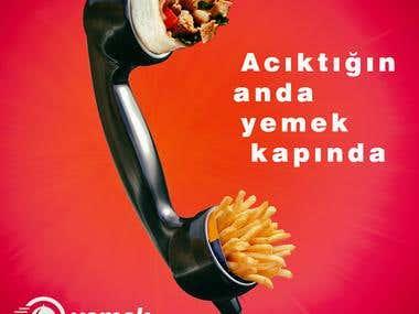 Yemekkapinda.com food delivery services ads.