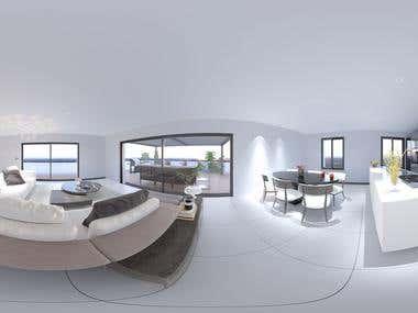 360 VR 3D Interior Rendering