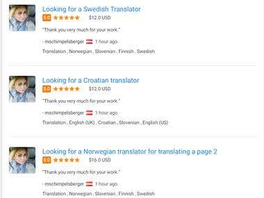 Translation Swedish, Croatian and Norwegian