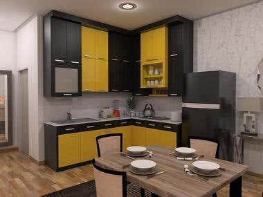 Kitchen Design with Striking color