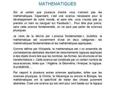 Présentation des Mathématiques