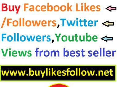 Buy Facebook Likes,Twitter Followers,Youtube Views