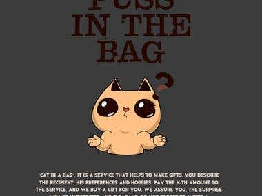 """Package desing for handmade presents """"Puss in the bag?"""""""
