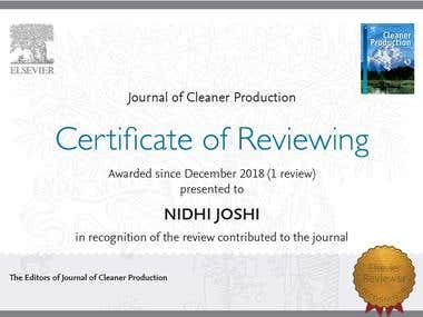 Certificate of reviewing from Journal of Cleaner Production