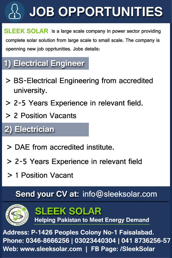 Designed Job Ad For Social Media of Sleek Solar | Freelancer