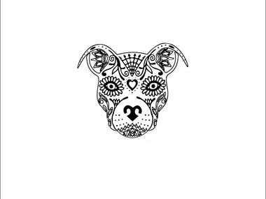 design sugar skull pitbull