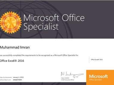 MOS Excel Certificate