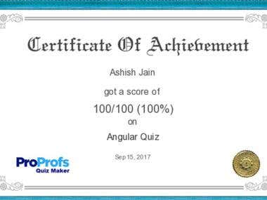 Angular Quiz Certificate