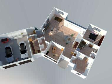 3D modeling of a small house in sketchup