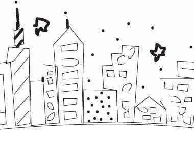 Line art Building using Illustrator