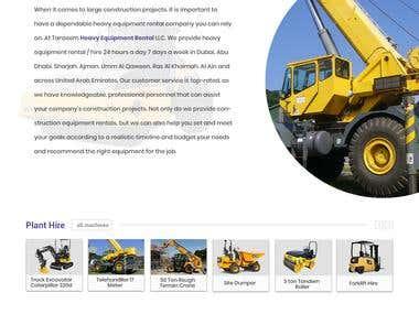 Heavy Equipment website design