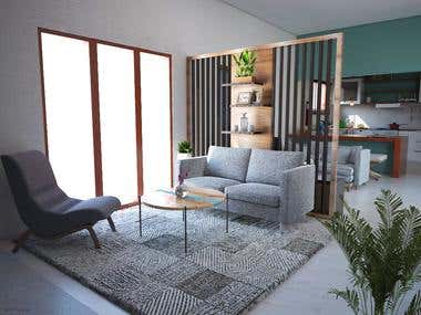 Mrs. A Small House - Living Room
