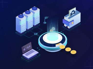 ICO, Cryptocurrency Landing page Illustration