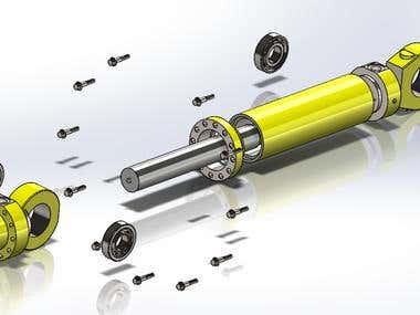 Hydraulic cylinder with solid works