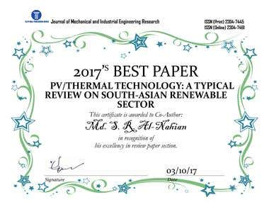 BEST PAPER PV/THERMAL TECHNOLOGY: A TYPICAL REVIEW ON SOUTH