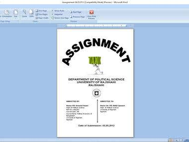 Assignment front page design word format