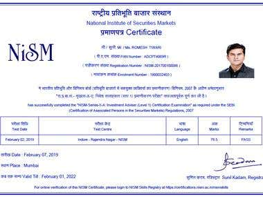 Investment Adviser Certificate by NISM