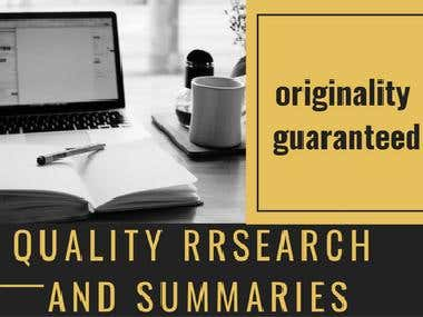 Quality research and summary writing