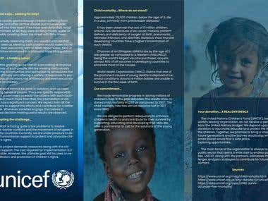 Simple 3 panel brochure for UNICEF