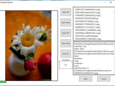 Tensoflow Image Recognition engine + .Net C# UI