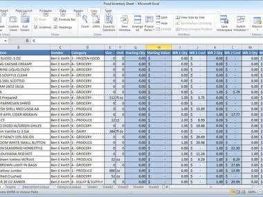 Excel spread sheet