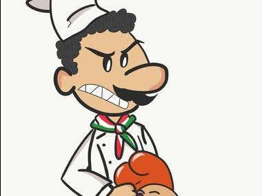 Italian Chef Punching A Chicken.