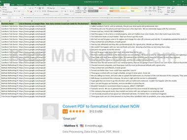 Convert PDF to formatted Excel sheet NOW