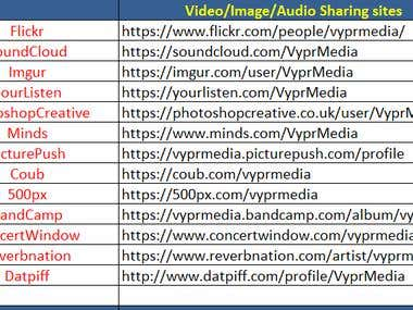 Video/Image/Audio Sharing sites