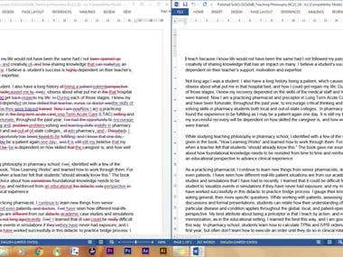 Proofreading, editing and rewriting