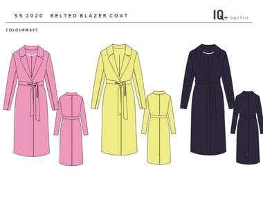 Fashion flat - belted blazer coat