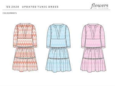 Fashion flat - ethnographic tunic dress
