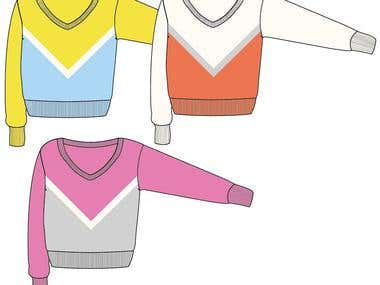 Fashion flat - knit sweater big V