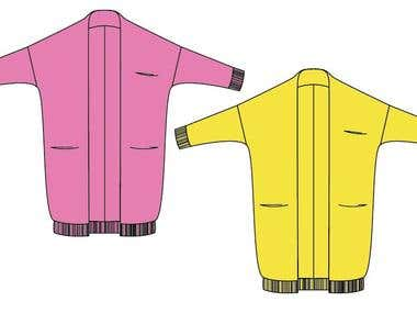 Fashion flat - long cardigan