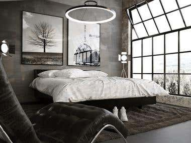 Moder Bedroom render desing