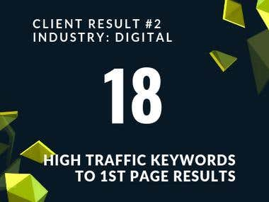 18 High Traffic Keywords To First Page Results.