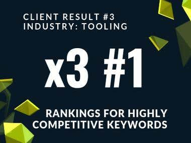 3 #1 Rankings For High Competitive Keywords.