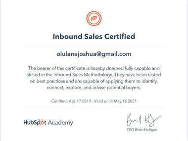 Inbound Sales Certificate